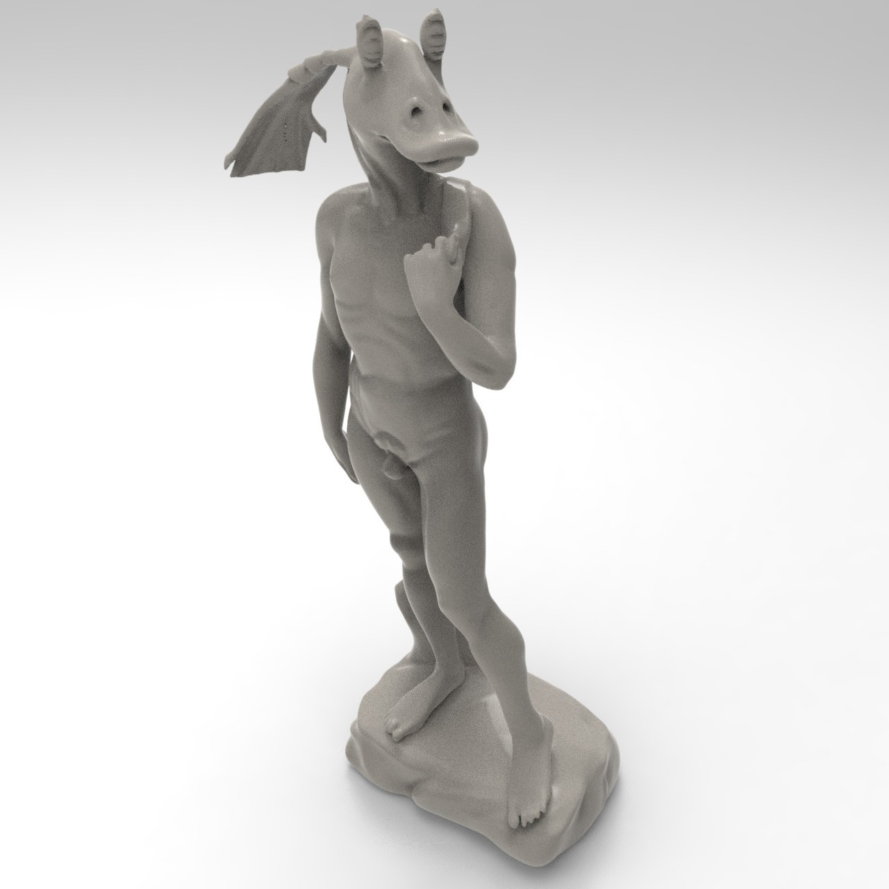 "binkus.33.jpg Download free STL file David ""Jar Jar"" Binks • 3D print design, lurgee"