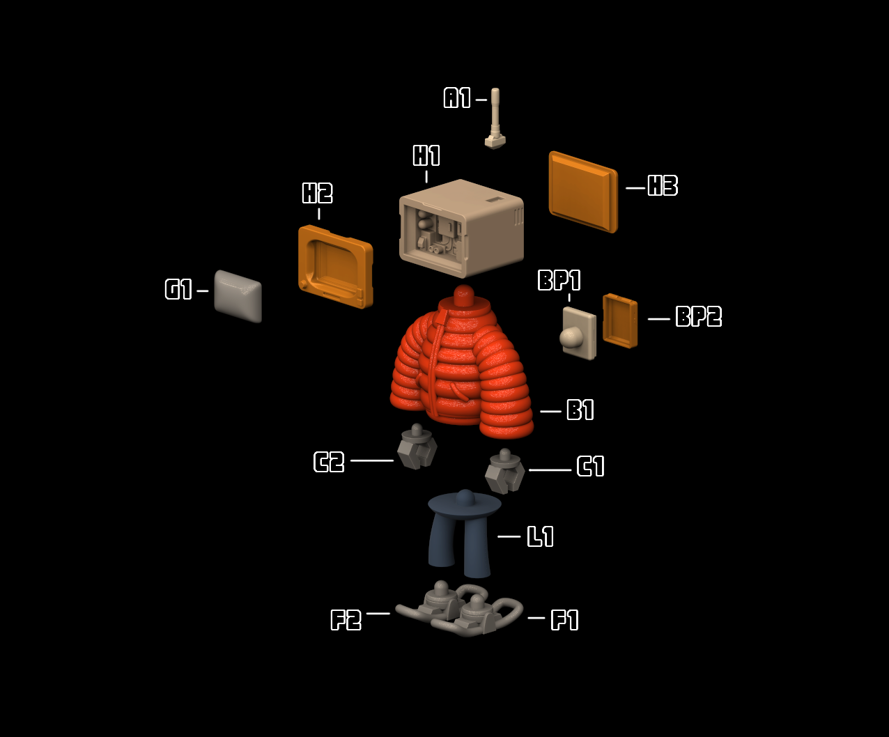 parts.png Download STL file T.B (Thug Bot) • 3D printing model, GGR2