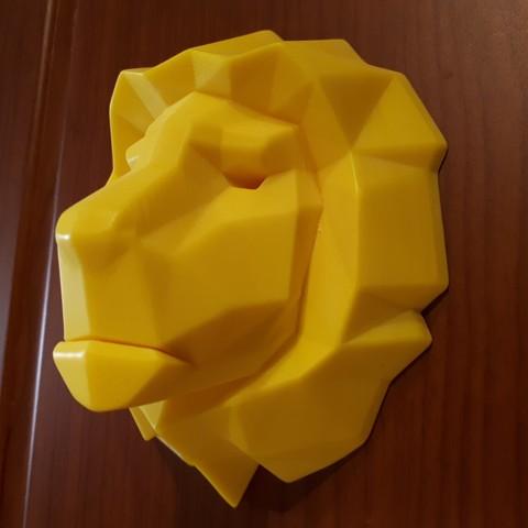 Modèle 3D tête de lion lowpoly, iradj3d