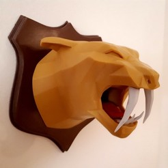 3D printing model Tiger head lowpoly, iradj3d
