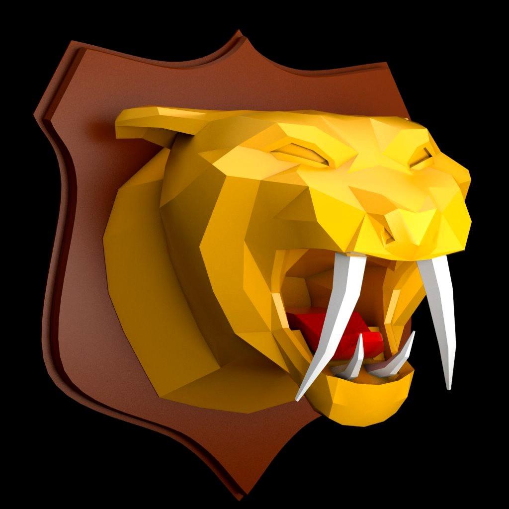 tiger_wall_5.jpg Download STL file Tiger head lowpoly • 3D printable model, iradj3d
