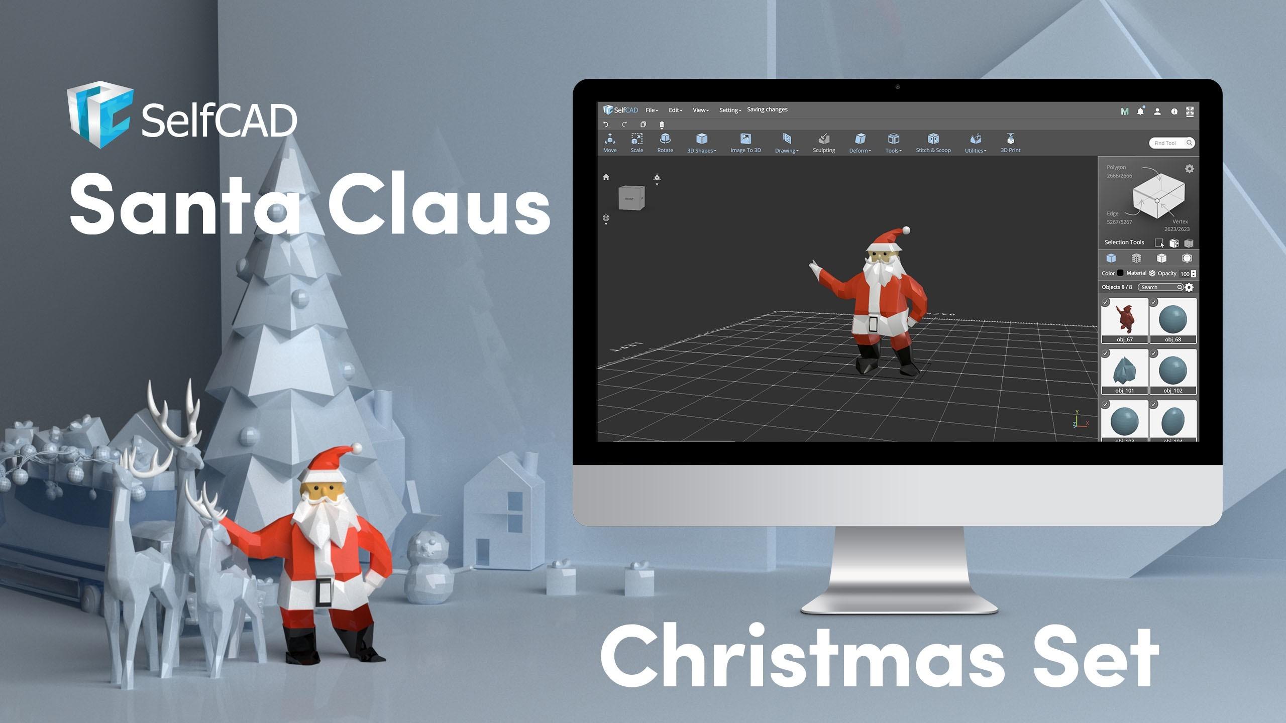 Cover_Santa.jpg Télécharger fichier STL gratuit Faible Poly Père Noël • Modèle pour impression 3D, sammy3