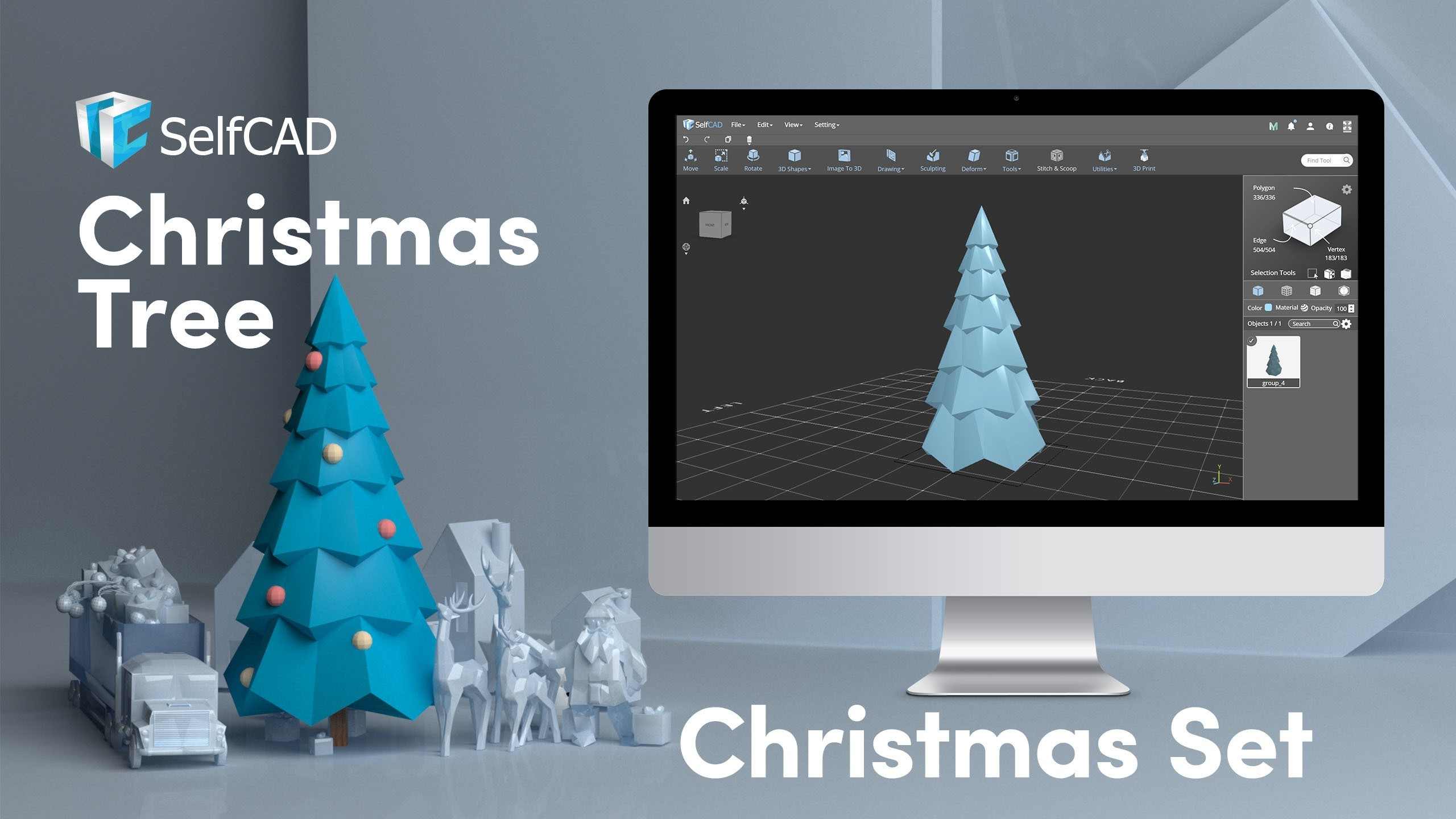 Cover_Tree.jpg Télécharger fichier STL gratuit Sapin de Noël Low Poly • Modèle pour imprimante 3D, sammy3