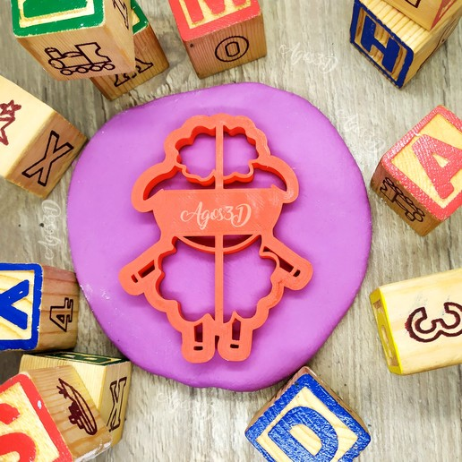 OVEJAS.jpg Download free STL file SHEEP - cutter of farm animal biscuits. cut fondant dough and clay - 8cm • 3D printable design, Agos3D