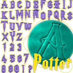 Descargar modelos 3D Harry Potter alphabet cookie cutter and stamps- CAPS - letters numbers signs!, Agos3D