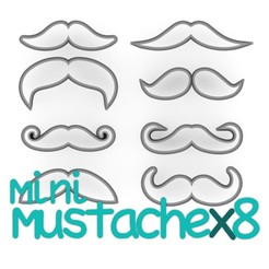 Download STL file PACK 8 mini moustaches - father's day cutting, gentleman's day - formal - marriage - beard - fondant and cookie dough cutter - 8 to 10 cm, Agos3D