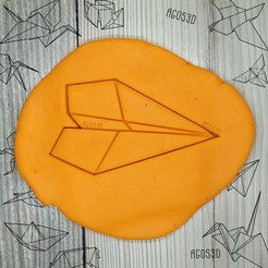 Download 3D printer templates Paper plane - origami COOKIE CUTTER - CUTTER PLATE OF GALLETS OR FONDANT - 8cm, Agos3D