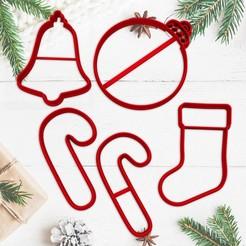 sanata.jpg Télécharger fichier STL NOËL - moule à biscuits de Noël - moule à biscuits pour la fête de Noël - bas - ornement - sucre d'orge - cloche - moule à pâte fondante et argile - 8cm • Modèle pour imprimante 3D, Agos3D