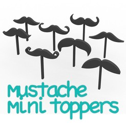 Download STL PACK 8 moustache toppers - father's day, gentleman's day - formal - wedding - beard - cupcake decoration, muffins - 4 cm, Agos3D