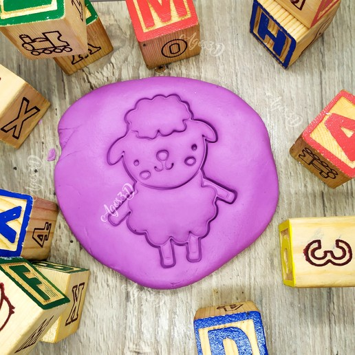 Download free 3D model SHEEP - cutter of farm animal biscuits. cut fondant dough and clay - 8cm, Agos3D
