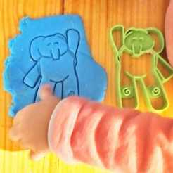 Download 3D printer templates Elly - elephant from pocoyo cookie cutter and stamps, Agos3D