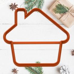 casa.jpg Télécharger fichier STL gratuit NOËL - moule à biscuits de Noël - moule à biscuits de la fête de Noël - maison / corta fondant masa y arcilla - 8cm • Design à imprimer en 3D, Agos3D