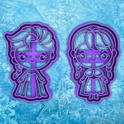 5522232.jpg Download STL file Frozen cookie cutter- Anna and Elsa - disney cookie cutter - disney party cookie cutter - house / corta fondant masa y arcilla - 8cm • 3D printable model, Agos3D