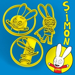 Download 3D model SIMON the happy rabbit - cookie cutter - bunny rabbit - dough and clay cutter - 8cm, Agos3D