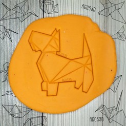 Download 3D printing designs paper dog - origami COOKIE CUTTER - CUTTER PLATE OF GALLETS OR FONDANT westie terrier - 8cm, Agos3D