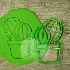Download 3D printer templates CACTUS - cookie cutter - Mexican party, desert, summer - cut dough and clay - 12cm, Agos3D
