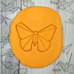 Download free 3D printer designs Butterfly - origami COOKIE CUTTER - CUTTER CUTTING PLATE OR FONDANT of butterfly - 8cm, Agos3D