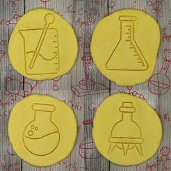 Download 3D printer model ball and tripod, Erlenmeyer, precipitated - FLASK - cookie cutter - science party, scientist, laboratory - cut dough and clay - 9cm, Agos3D