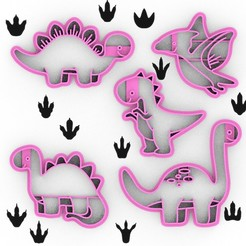 Download STL file PACK 5 SMALL DINOSAURS - 6CM COOKIE CUTTER - COOKIE DOUGH OR DINOSAUR FONDANT, Agos3D
