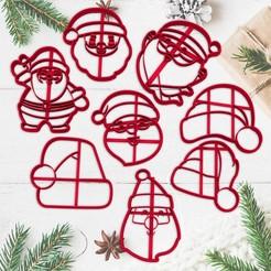 sanata2.jpg Télécharger fichier STL NOËL - moule à biscuit - fête de Noël - Père Noël - Père Noël - moule à pâte et argile - 8cm • Modèle à imprimer en 3D, Agos3D