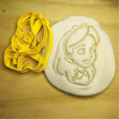 Download 3D printing files Alice in Wonderland face - Alice in Wonderland - cookie cutter - theme party - dough and clay cutter - 8cm, Agos3D