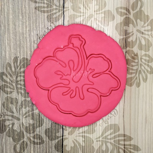 Download 3D printer templates TROPICAL FLOWER - TROPICAL COOKIE CUTTER - HAWAIIAN FONDANT OR COOKIE CUTTING PLATE, Agos3D