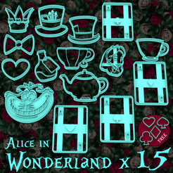Download STL file PACK X 19 Alice in Wonderland - cookie cutter - theme party - dough and clay cutter - 9cm, Agos3D