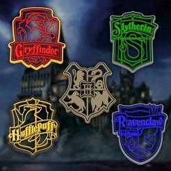 harry.jpg Télécharger fichier STL Maisons de Harry Potter - écusson de Poudlard - tailleur et timbres / Gryffondor - Slytherin - Ravenclaw - Hufflepuff / armoiries 8cm • Design pour imprimante 3D, Agos3D