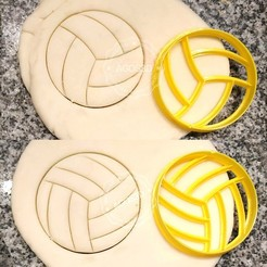 Archivos STL 2 VOLLEYBALL COOKIE STAMPS + CUTTER - SPORT BALL, Agos3D