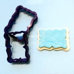 Descargar archivos 3D Plaque cookie cutter - placa cortante de galletas o fondant - retro vintage, Agos3D