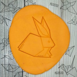 Download 3D printer files rabbit - origami COOKIE CUTTER - CUTTER OF GALLETS OR FONDANT OF paper rabbit - 8cm, Agos3D