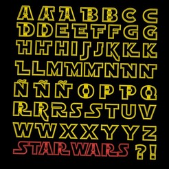 letrasa.jpg Download STL file 55 PACK - alphabet star wars jedi cookie cutter alphabet - capital letter - small letters with variations! 4-5cm • 3D printing design, Agos3D