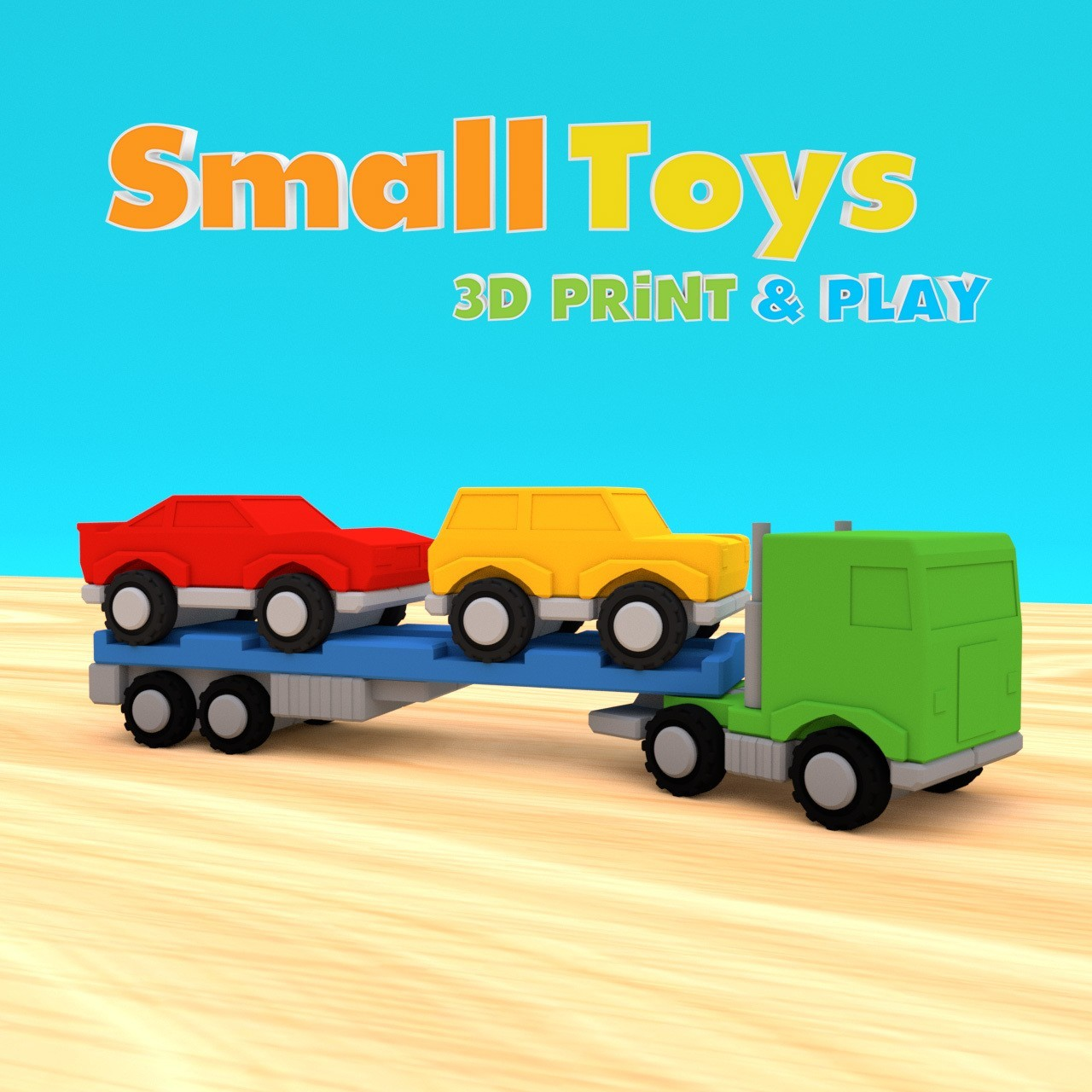 SmallToys-EuropeanTruck01.jpg Download STL file SmallToys - Trucks and trailers pack • Design to 3D print, Wabby