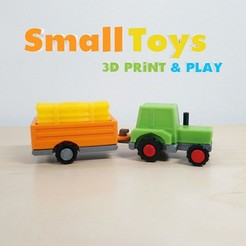 SmallToys-TractorFarm01.jpg Download STL file SmallToys - Farm tractor and trailer • 3D print model, Wabby