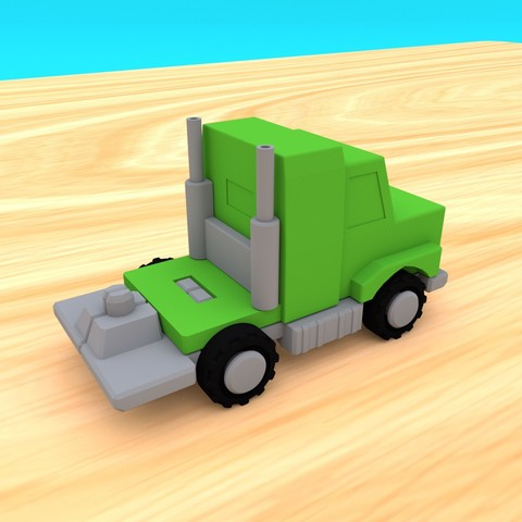 SmallToys-AmericanTruck02.jpg Download STL file SmallToys - Trucks and trailers pack • Design to 3D print, Wabby