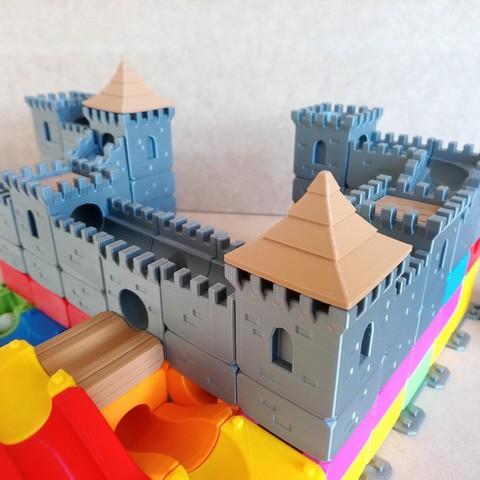 MarbleRunBlocks-MedievalCastlePack03.jpg Download STL file Marble Run Blocks - Medieval Castle pack • 3D printable template, Wabby