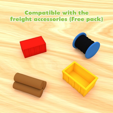 SmallToys-FreightAccessoriesCompatible.jpg Download STL file SmallToys - Trucks and trailers pack • Design to 3D print, Wabby
