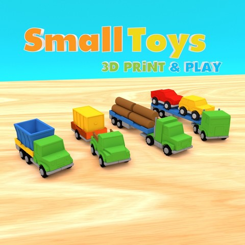 smalltoys-truckspack01.jpg Download STL file SmallToys - Trucks and trailers pack • Design to 3D print, Wabby