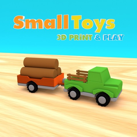 smalltoys-ShortTruckTrailer01.jpg Download STL file SmallToys - Trucks and trailers pack • Design to 3D print, Wabby