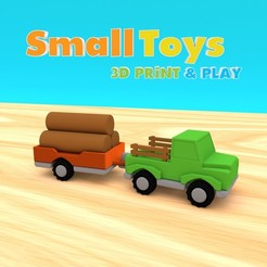 stl file SmallToys - Small truck and trailer, Wabby