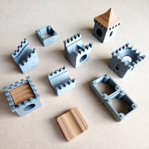 MarbleRunBlocks-MedievalCastlePack01.jpg Download STL file Marble Run Blocks - Medieval Castle pack • 3D printable template, Wabby