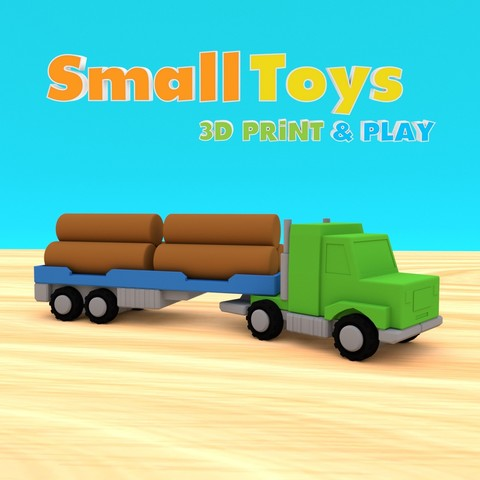 SmallToys-AmericanTruck01.jpg Download STL file SmallToys - Trucks and trailers pack • Design to 3D print, Wabby