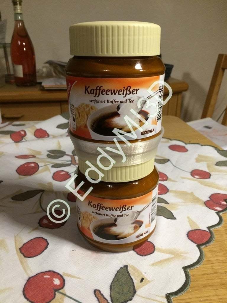 Kaffee_W_001.jpg Download free SCAD file Non-Dairy Creamer Jar Stacker Ring • 3D printing model, EddyMI3D