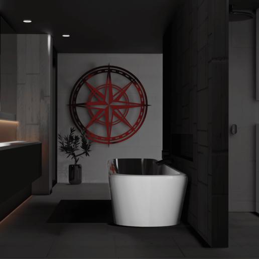 bathroom.png Télécharger fichier STL gratuit Rose des vents • Design pour imprimante 3D, Dawani_3D