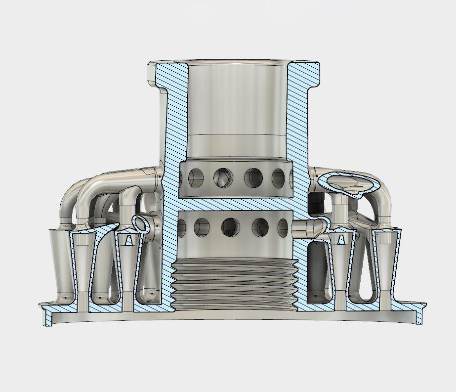 inside.JPG Download STL file 48 Head Multi Cyclone Chamber (Compact Size Added) • 3D printer model, kanadali
