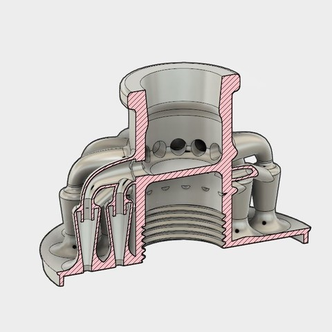 section.JPG Download STL file 26 Head Multi Cyclone Chamber (Compact Size Added) • 3D printing object, kanadali