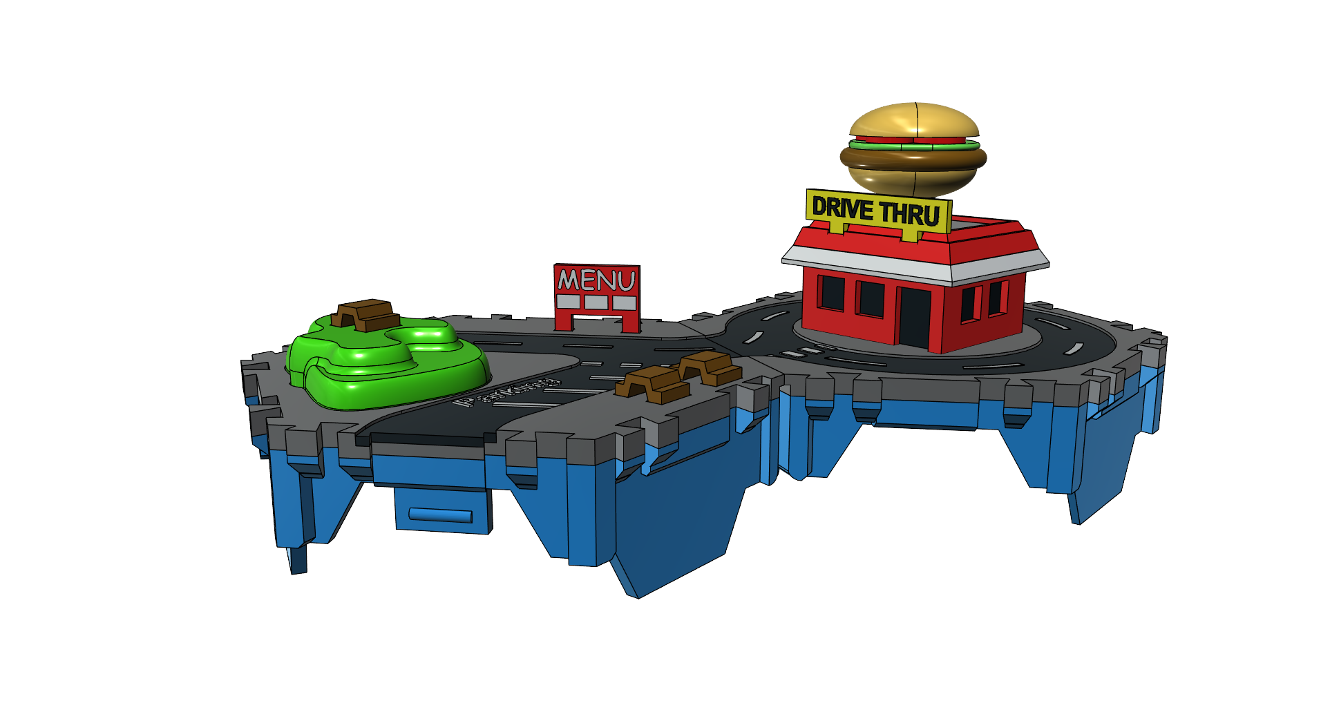 5.png Download free STL file Little Cities - Burger Drive Through • Template to 3D print, neil3dprints