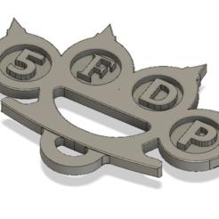 """Télécharger fichier STL gratuit Porte-clés avec logo """"coup de poing mortel"""" à cinq doigts • Modèle pour imprimante 3D, 3DMARKED"""