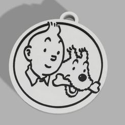 breloc tin.JPG Download STL file Porte-clés Tintin et Milou/Tintin and Milou keychain • 3D printer object, 3DMARKED
