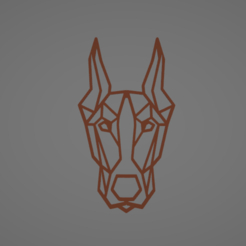 Download 3D printer designs LOW POLY  GEOMETRIC DOBERMAN WALL DECORATION, AndreiMarcu